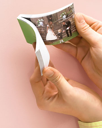 Flipbooks - Keep guests entertained while they wait for the bride to make her entrance with a four-page flipbook. Customize it with photos of the smiling couple.