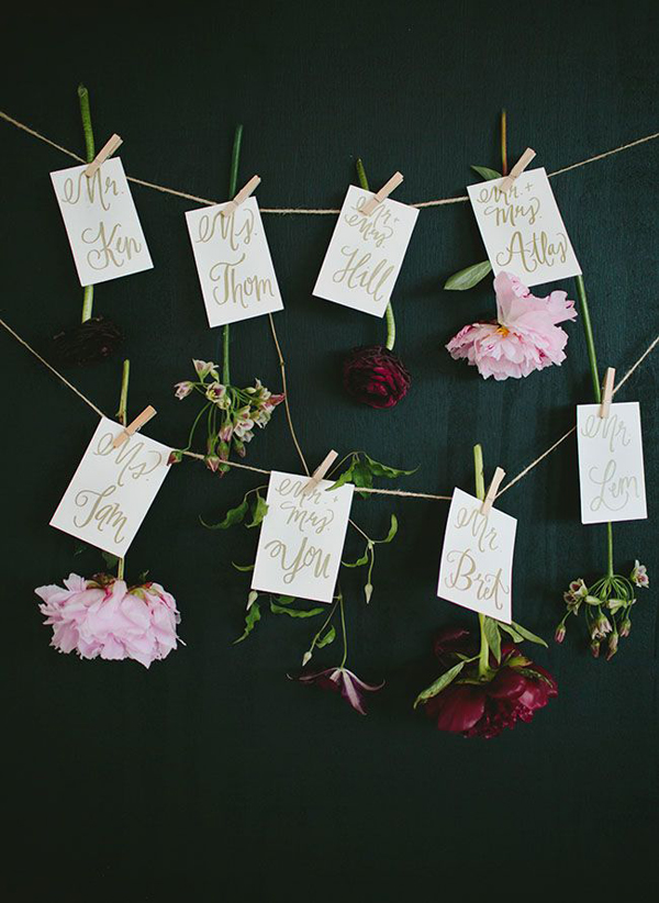 Escort Cards: Green Wedding Shoes