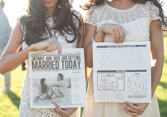 A newspaper or magazine program allows for creative add-ons such as crossword puzzles and sudoku. Wedding Illustrated