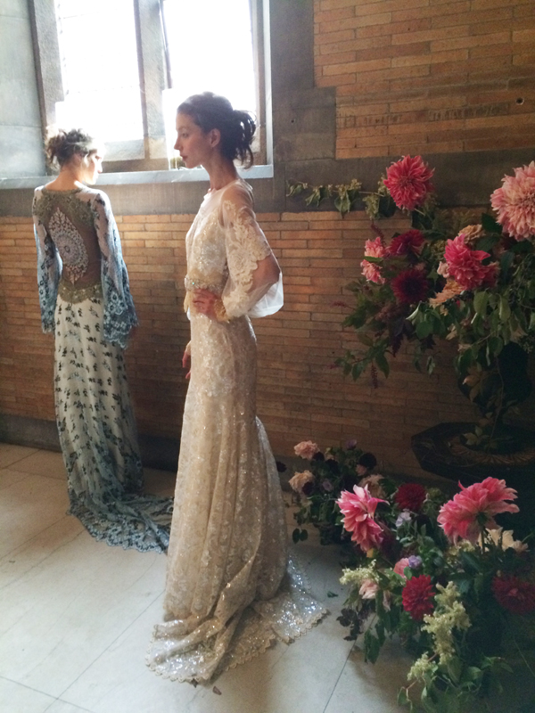 Claire Pettibone's show was held at The High Line Hotel. From the venue and flowers to the runway and gowns, this show was nothing short of stunning. We also loved theberry palette!