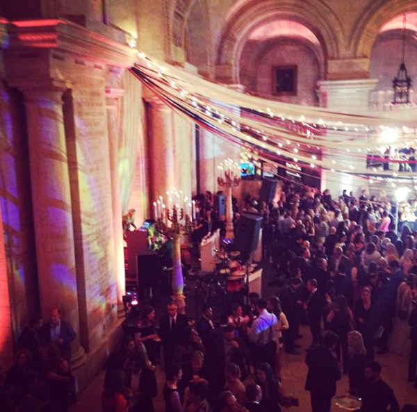 To celebrate an amazing Market, we stopped by both galas thrown by The Knot and Martha Stewart Weddings! This was the scene at The Knot's party, which was held at the New York Public Library. Unreal.