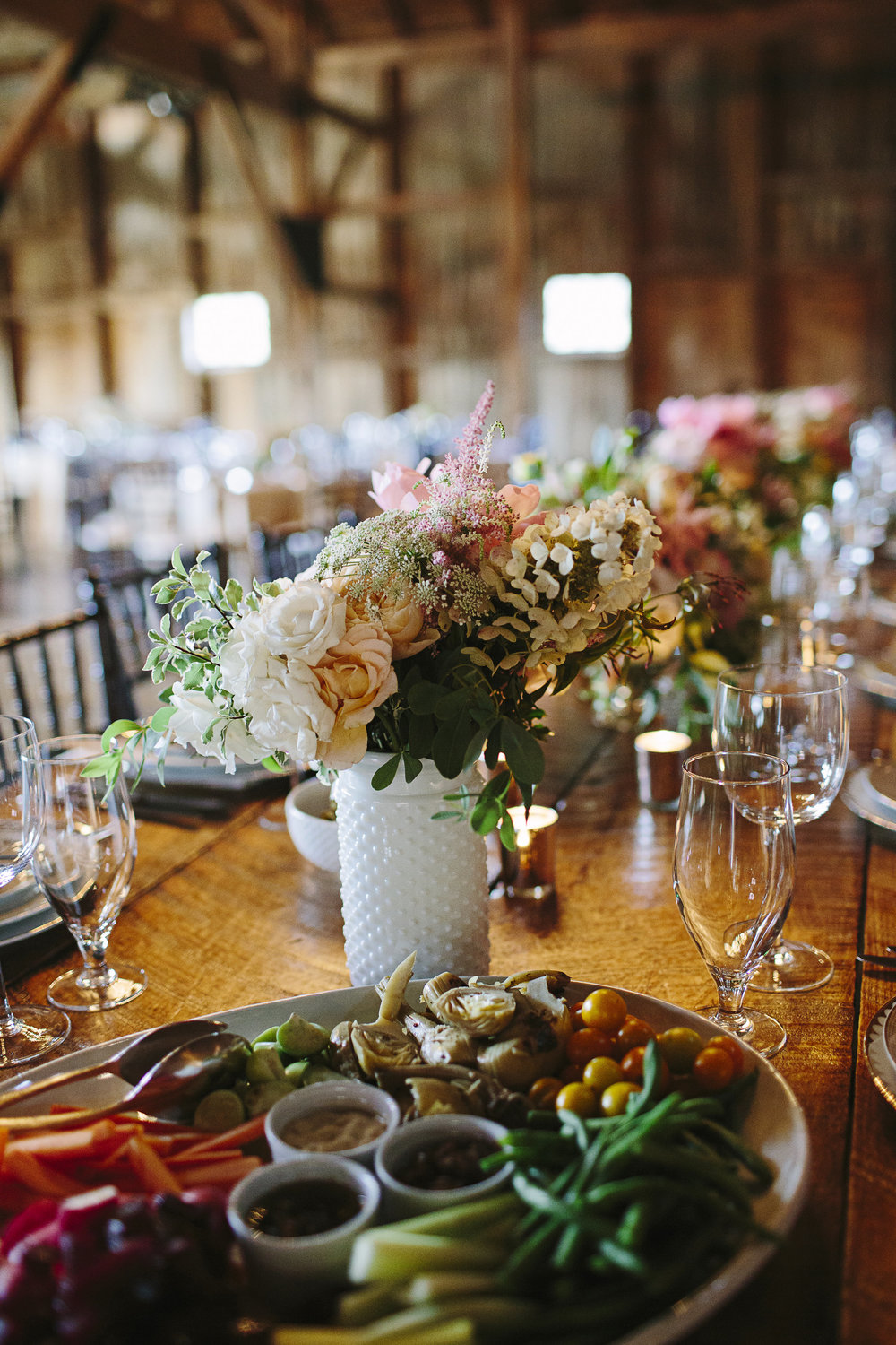 Styled Bride Wedding - First Course of passed fresh vegetables from (A)muse. Photo: Brooke Courtney. Florals: Sullivan Owen Rentals: Maggpie Vintage & Party Rentals LTD.
