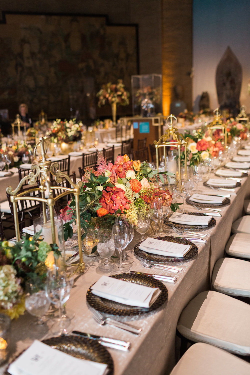 Driftwood colored linens,  mahogany chiavari chairs and luxe gold patterned charger plates were added to enhance the tablescape.  Menus were provided for each guest for tableside ordering.  Guest were able to select from three entrees from Catering by Restaurant Associates