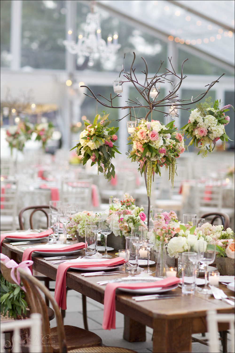 Photo by: Sarah DiCicco /  Florals: Fleur De Lis / Tent: EventQuip /  Venue: Waterworks/ Lighting: Eventions  / Rentals: Maggpie Vintage Rentals & Party Rental LTD. / Styling & Planning: The Styled Bride