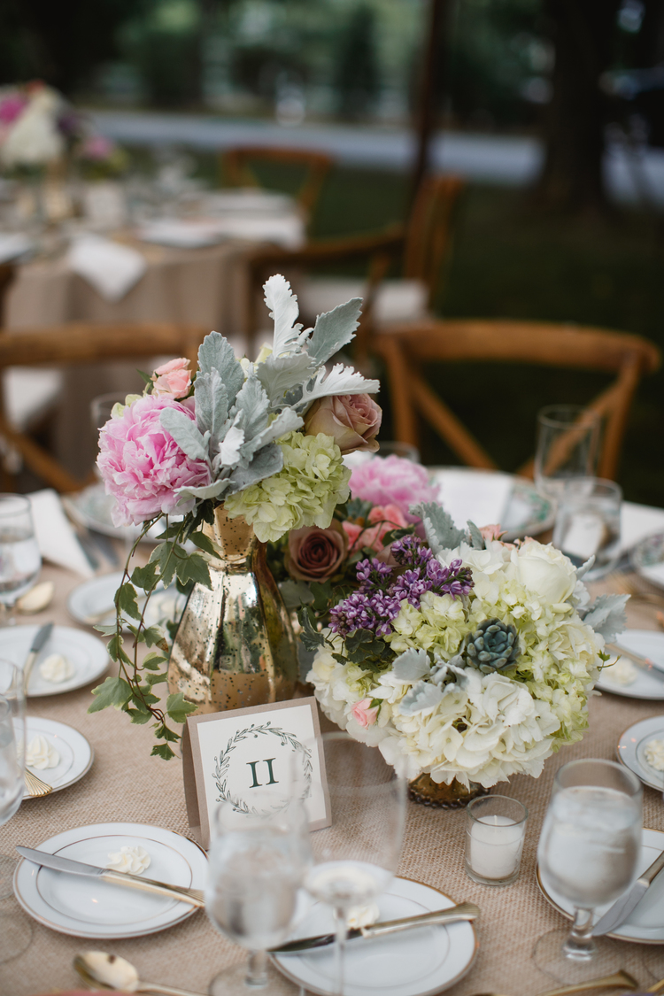 Photo by: Love Me Do/ Florals: Fleur De Lis/ Rentals: Party Rentals LTD./ Table Number: Chick Invitations / Venue: Private Home /  Styling & Planning: The Styled Bride