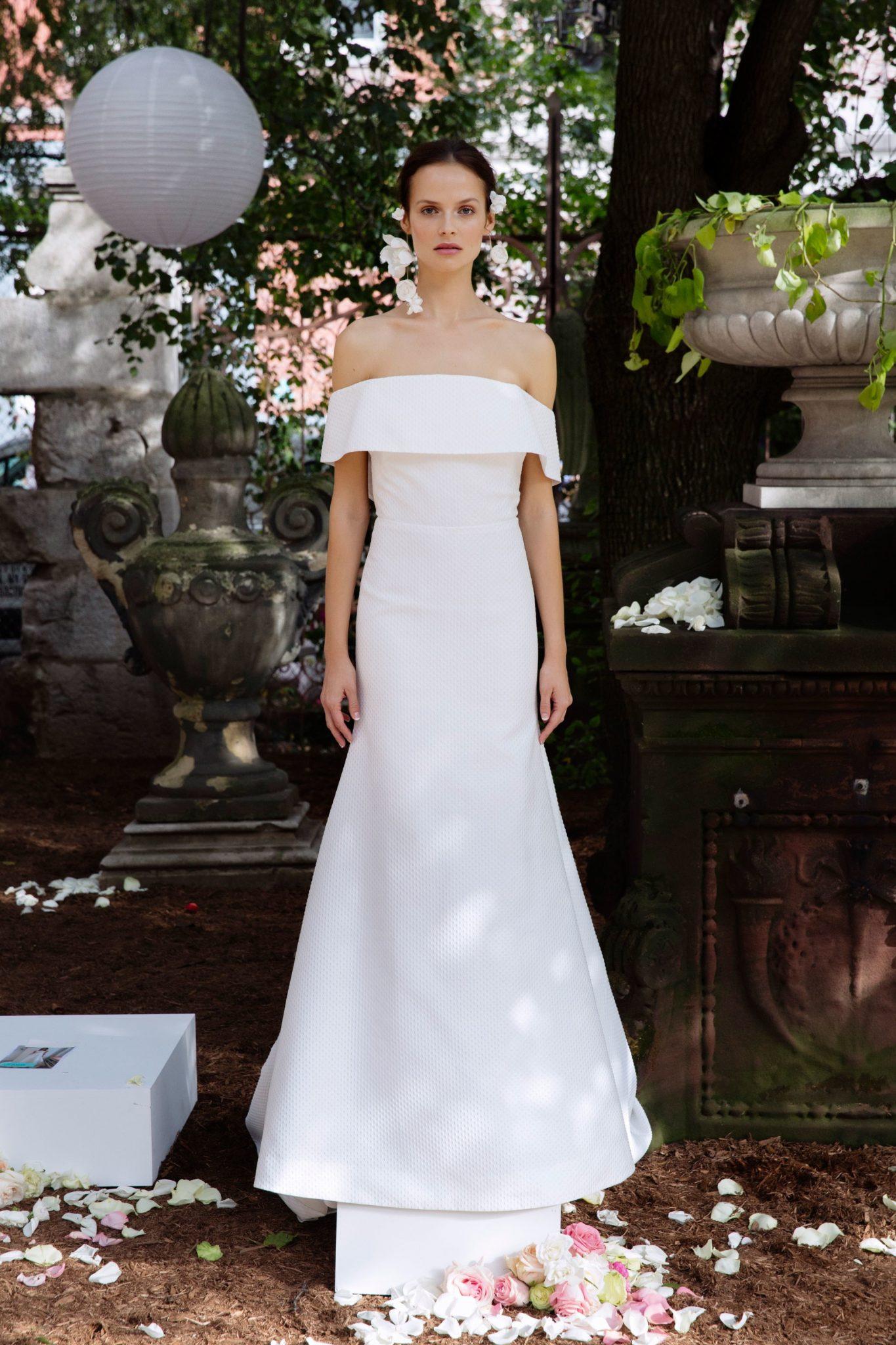 Bridal Fashion Week Fall 2018 Off The Shoulder Wedding Dress | www.thestyledbride.com