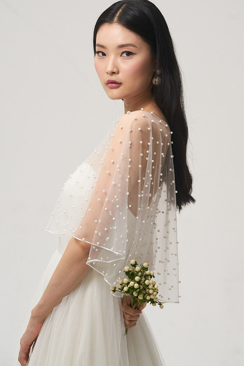 Bridal Fashion Week Fall 2018 Cape Wedding Dress | www.thestyledbride.com