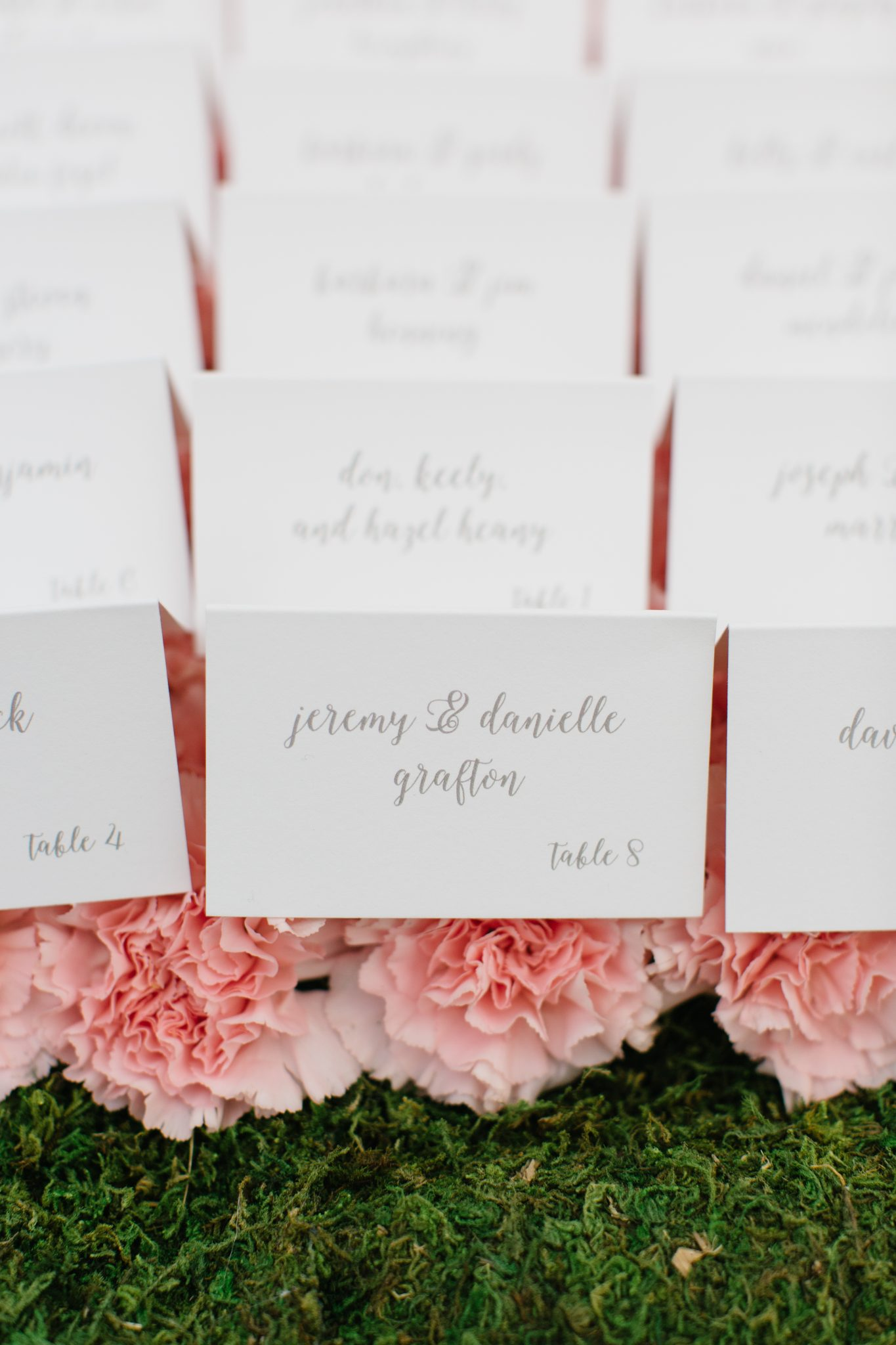 Classic Wedding Escort Card Display with Flowers | www.thestyledbride.com