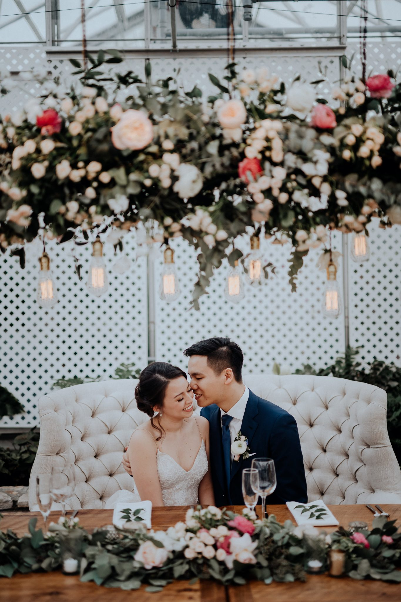 Horticulture Center Wedding with Floral Chandelier | www.thestyledbride.com
